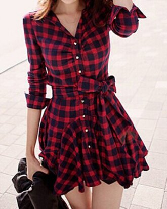 dress plaid fashion style buttons red black girly kawaii korean fashion asian fashion back to school