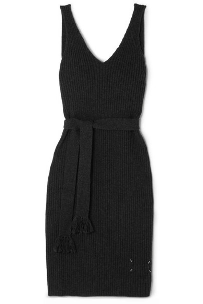 MAISON MARGIELA dress midi dress back open midi wool charcoal