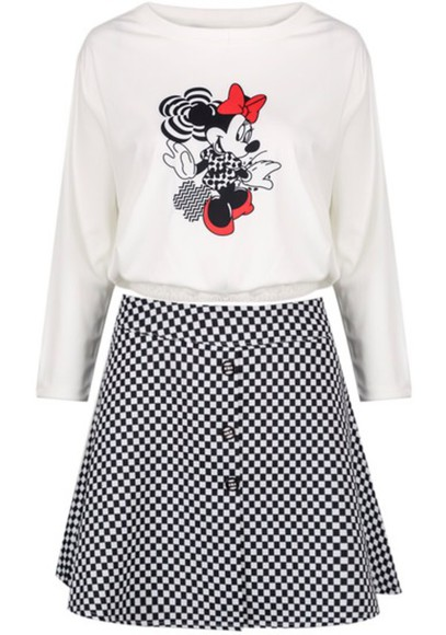 black summer dress blouse summer outfits skirt white top fashion cute style girly cartoon minnie mouse girl teens long sleeves top long sleeves red underwear elegant