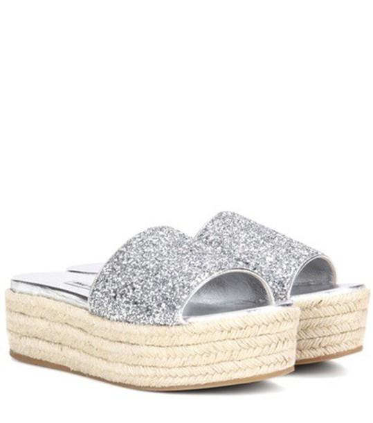 Miu Miu glitter sandals platform sandals silver shoes