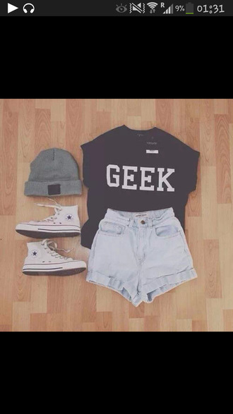 t-shirt black tee shirt geek beanies shorts jean hat