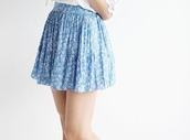 skirt,flowers,floral,floral skirt,blue,blue skirt,girly,kawaii