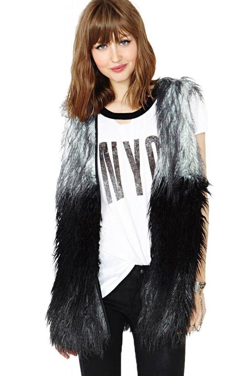 Superbaby women fashion ombre stitched collarless faux fur vest gilet waistcoat at amazon women's clothing store:
