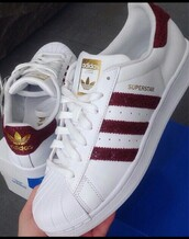 shoes,adidas,adidas superstars,red stripes,croco print,adidas shoes,adidas originals,white,burgundy,adidas shoe,snake skin,red adidas,bordeux adidas,red,low top sneakers,white sneakers,burgundy shoes,snake,snake shoes,superstar,white bordeuxred,maroon