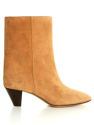 heel suede ankle boots boots ankle boots suede tan light shoes