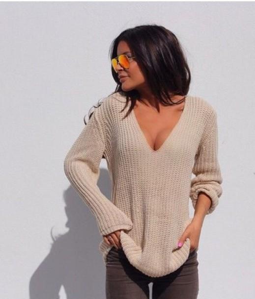 sweater, kylie jenner, tan, cute, beige, loose, v neck