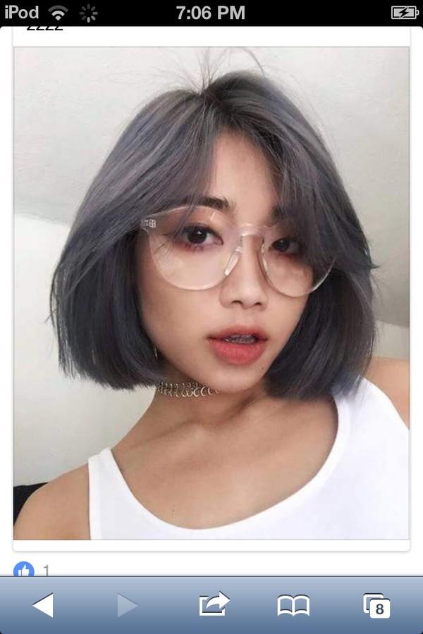 sunglasses glasses short hair violet grey clear