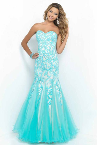dress blue aqua dress blue dress white dress long dress dress cute dress light blue and cream mermaid prom