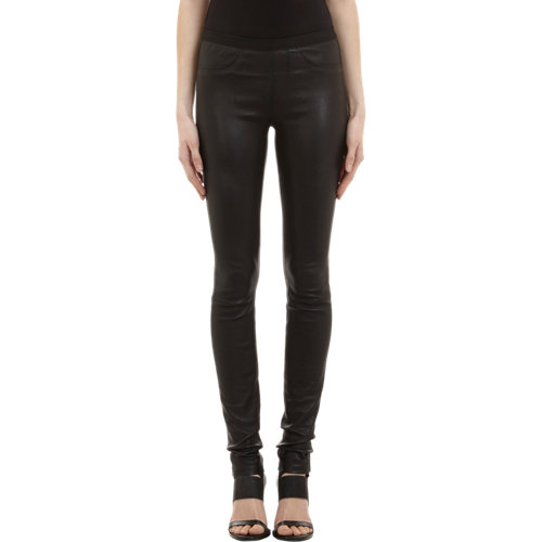 Helmut Lang Faux-Pocket Leather Leggings at Barneys.com