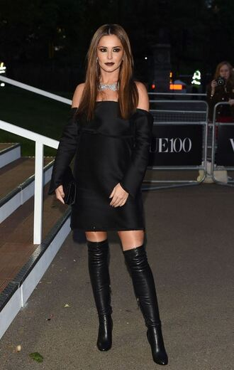 dress off the shoulder mini dress black dress all black everything cheryl cole boots over the knee boots necklace shoes black off shoulder dress off the shoulder dress silver necklace long sleeve dress over the knee clutch velvet bag velvet clutch high heels boots black boots