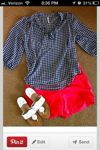 shirt preppy pinterest southern summer outfits spring gingham nautical blue whitr white jack rodgers blouse