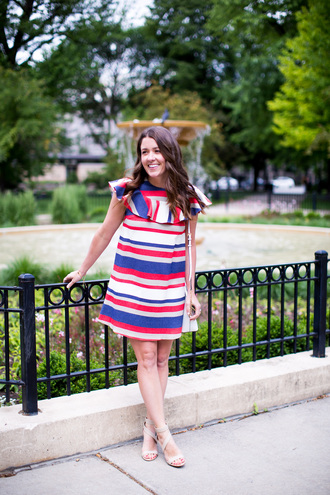 sequins and stripes blogger dress shoes bag stripes red dress mini dress lace up heels lace up flats blue white red outfit
