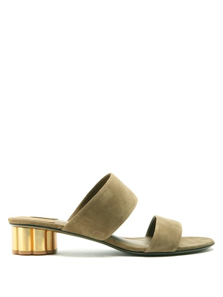 Salvatore Ferragamo heel sandals suede khaki shoes