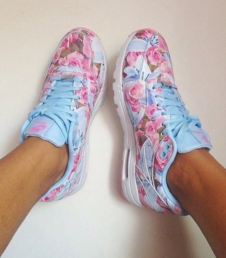 shoes nike air max 95 floral pink blue