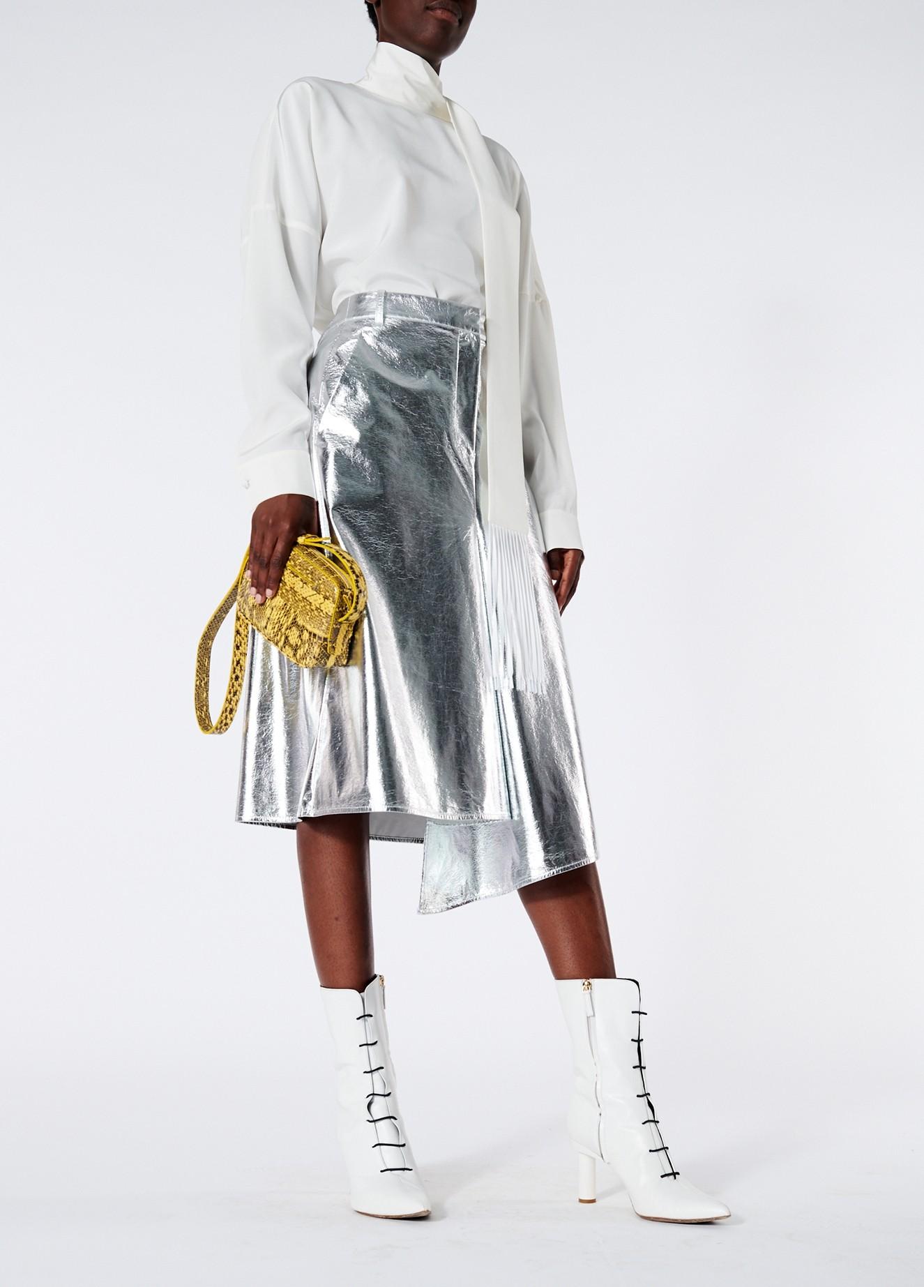 Tibi Tech Leather Draped Pencil Skirt
