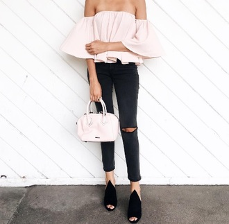 shirt blouse blogger fashion vibe fashion inspo off the shoulder top pink blouse pink top off the shoulder long sleeves pink bag black jeans ripped jeans skinny jeans black flats date outfit summer outfits