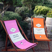 pengin books,penguin,pink,orange,chair,beach chair,beach,summer chair,top,bikini,home decor,lifestyle,beach house