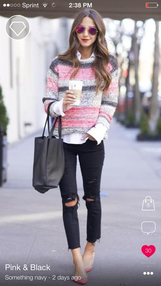 sweater pink sweater black sweater colorful multicolor sweater