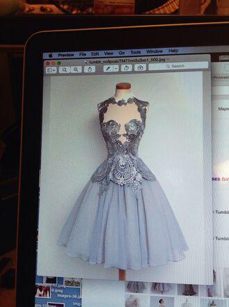dress silver dress 50s style embroidery dress