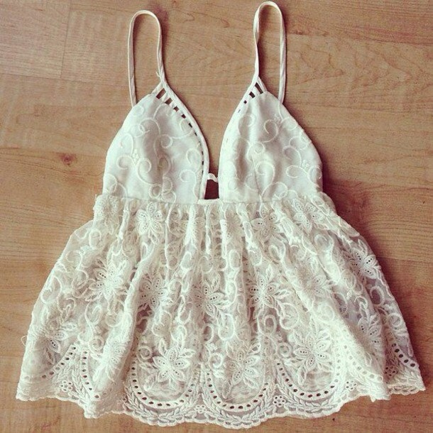 blouse white boho tank top summer lace