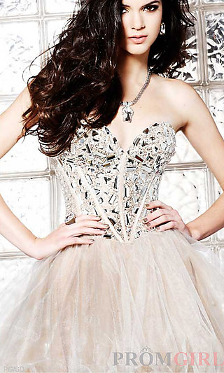Strapless Party Dress, Sherri Hill Beaded Prom Dresses- PromGirl