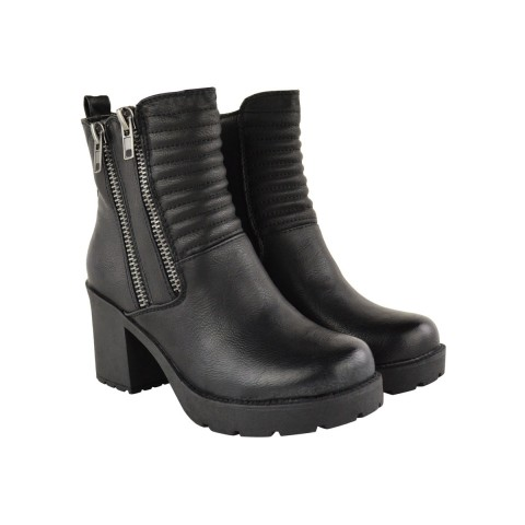 Black Faux Leather Double Zip Fur Lined Ankle Boots - Willow