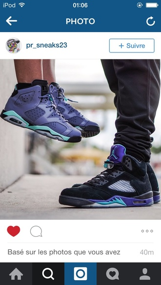 shoes sneakers fashion style jordans purple blue blue shoes black shoes black sneakers couple