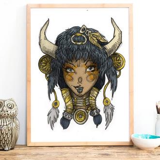 home accessory bohemian boho buffalo poster wall decor art art print
