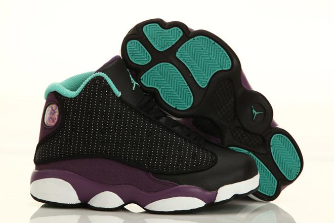 Nike Michael Jordan 13 Kid Size Sneaker Black Grape and White - nbsneaker.com