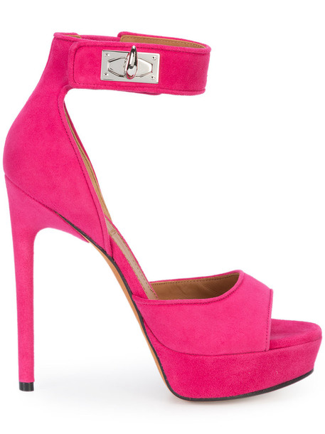 Givenchy women shark sandals leather suede purple pink shoes
