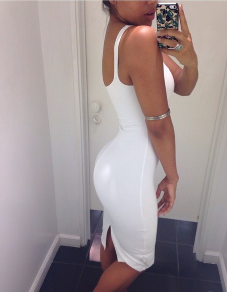white dress bodycon dress dress white midi all white cute tight white dress bodycon dress scoopback tight slim fit ring cuff jewels sliver