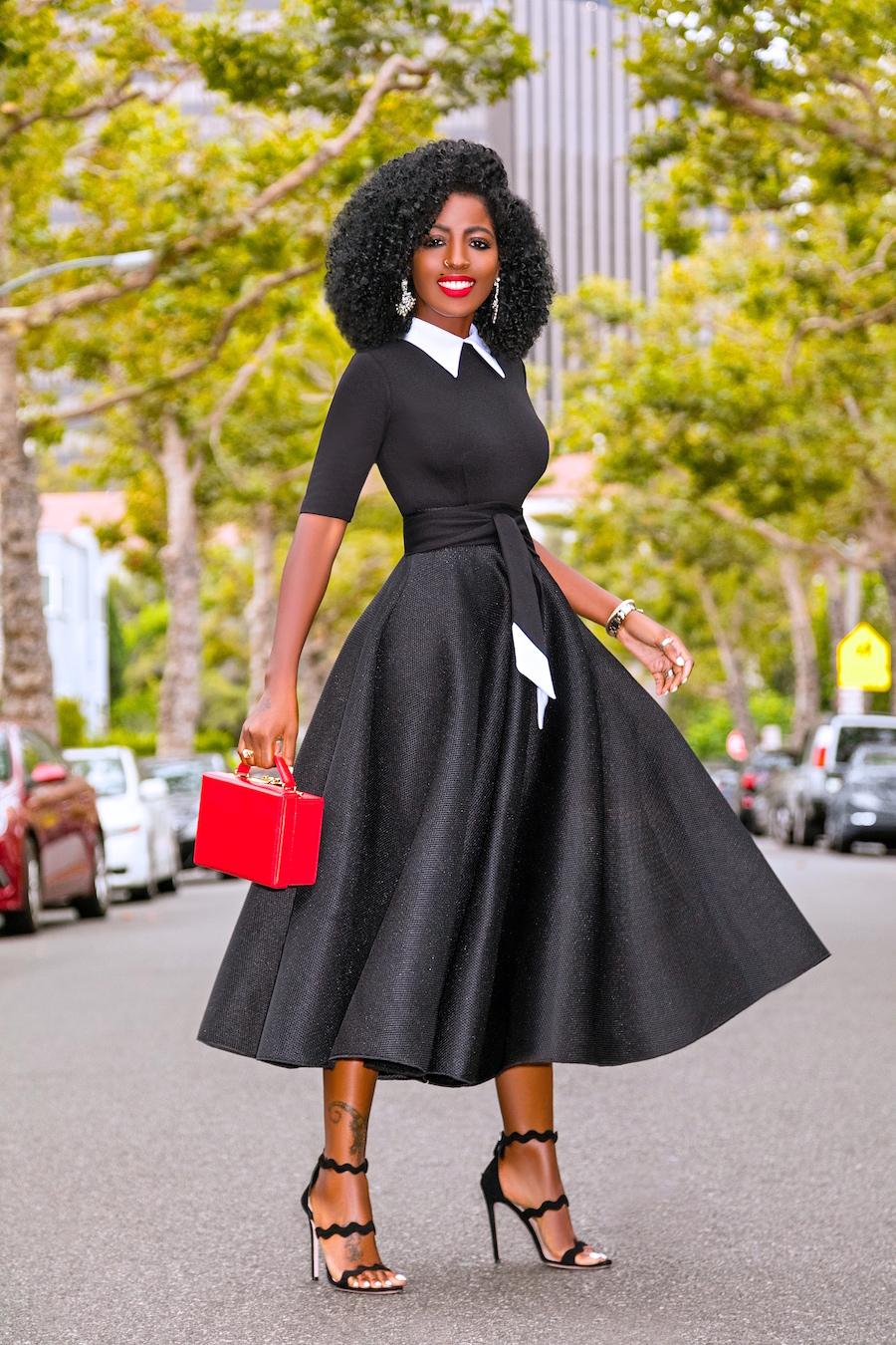 Style Pantry | Black & White Contrast 50s Midi Dress
