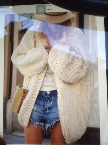 cardigan oversized beige cream knitted