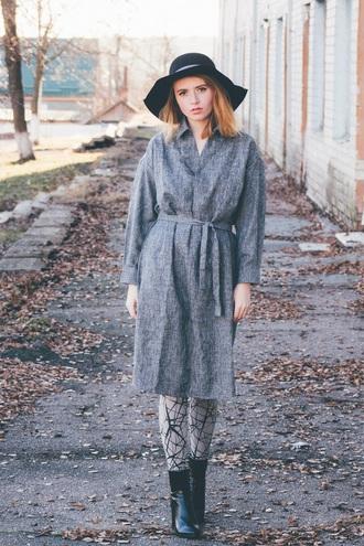 kristina magdalina blogger floppy hat grey coat grey dress shirt dress