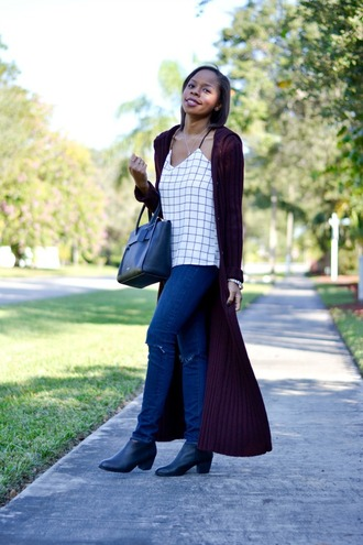 cha cha the fashion genius blogger cardigan tank top jeans bag white top checkered