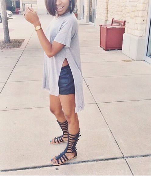 high-low dresses grey gray t-shirts gladiator sandals Red Lime Sunday