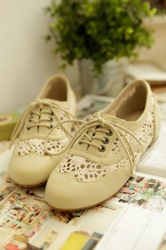 shoes cute lace cream white brogues