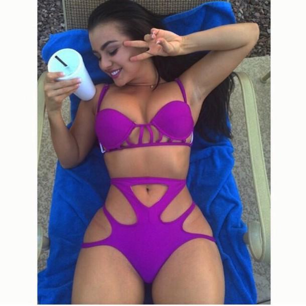 swimwear bikini purple dress sexy dress sexy cute