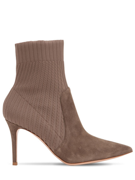 GIANVITO ROSSI 85mm Rib Knit & Suede Ankle Boots in taupe