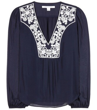 blouse embroidered silk blue top