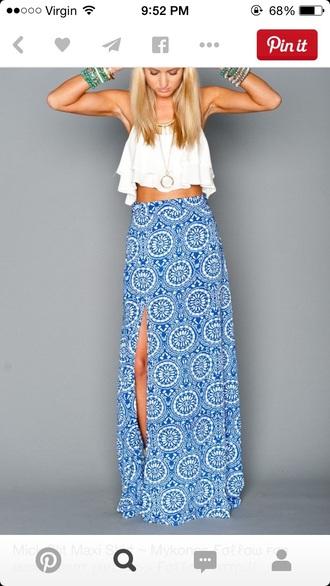 skirt boho slit maxi skirt top