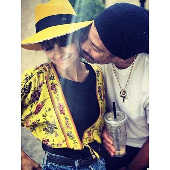 nicole richie maison michel yellow hat felt hat