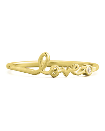 SHY by Sydney Evan Bezel Diamond Love Ring, Yellow Gold