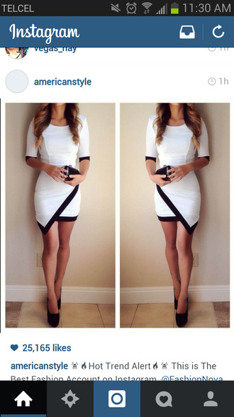 black and white black and white dress classy gorgeous half sleeve dress must have basic formal nice