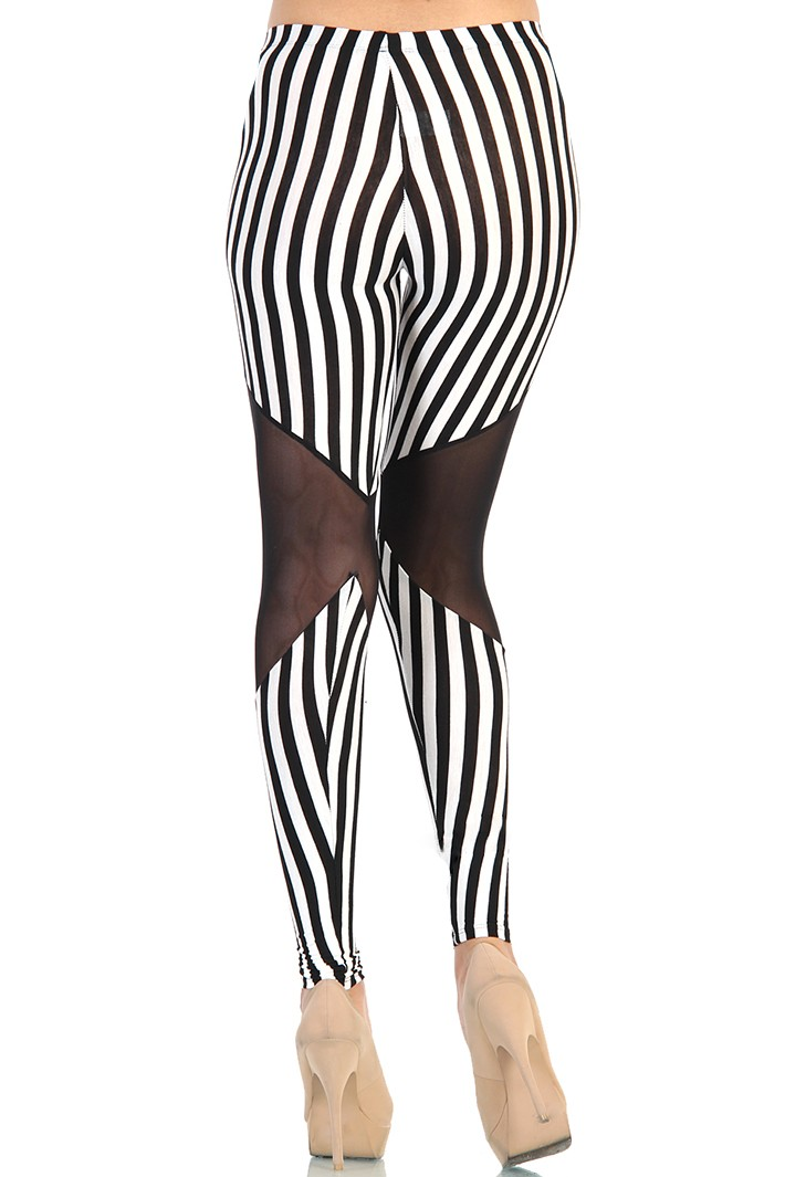 Mesh Cut Out Striped Leggings - Black / White