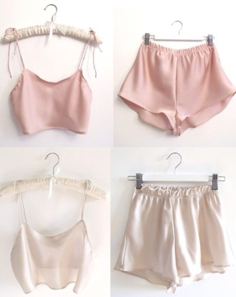 white shirt crop tops cream cream top shorts white top off-white silk white crop top pink crop top white shorts pink shorts summer outfits delicate satin weaves satin light blue