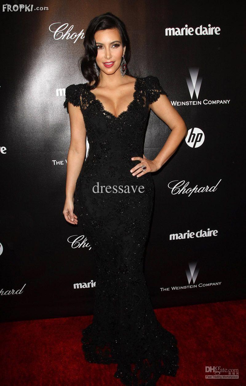 Cheap Celebrity Dress - Discount 2013 Kim Celebrity Dress Black Carpet Dress Evening Online with $132.87/Piece | DHgate