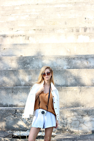 sirma markova blogger jacket blouse shorts sunglasses