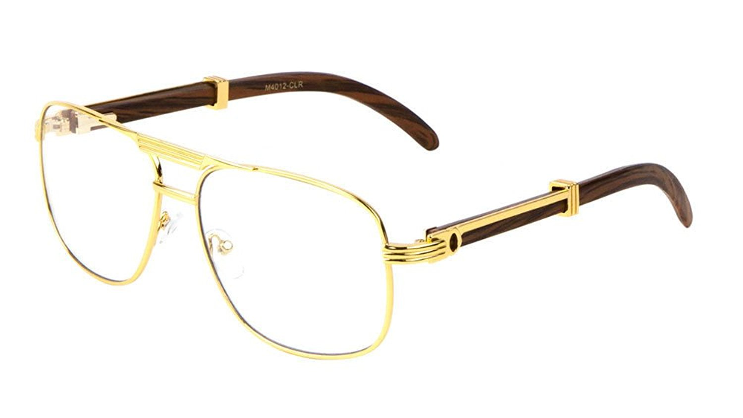 Amazon.com: Executive Metal & Wood Aviator Eyeglasses / Clear Lens ...