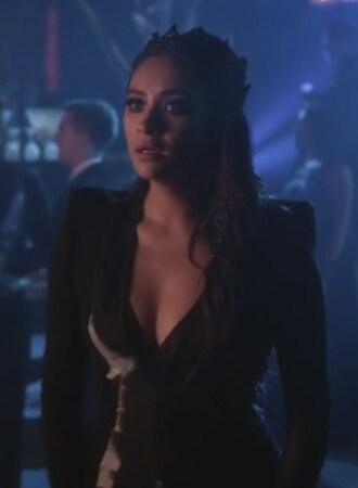 dress black and white gown emily fields shay mitchell pretty little liars jewels crown earrings nail tips